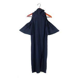 Topshop dress high Neck cold shoulder thigh slit